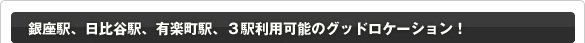 銀座駅、日比谷駅、有楽町駅、3駅利用可能のグッドロケーション!